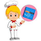 Girl chef With Cookbook. Illustration of Girl chef With Cookbook royalty free illustration