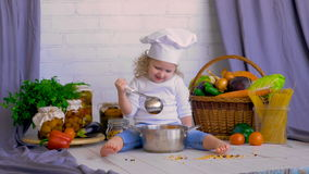 Girl chef cooking fresh Vegetables. Healthy food concept. stock video