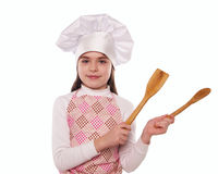 The girl with chef hat indicates isolated Royalty Free Stock Image