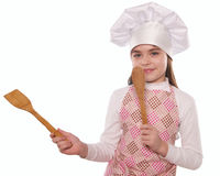 The girl with chef hat indicates isolated Stock Photography