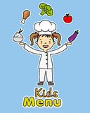 Girl chef. With healthy food Royalty Free Illustration