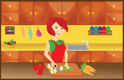 GIRL CHEF. AN ILLUSTRATION OF A CUTE GIRL CHEF COOKING Stock Illustration