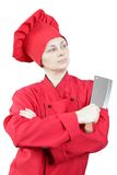 Girl chef with knife Stock Images