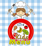 Girl chef. Little girl with knife and fork. Kids menu. girl chef Stock Illustration