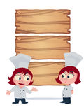Girl chef offers food menu vector illustration Stock Image