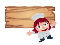 Girl chef offers food menu vector illustration Royalty Free Stock Photo