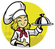 Girl Chef presenting the meal. Vector of Girl Chef presenting the meal vector illustration