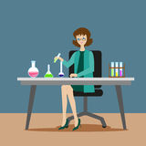 A girl chemist or assistant conducts chemical or biological experiments on mixing solutions. New scientific discoveries vector illustration