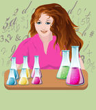 GIRL Chemistry. Girl sitting in the chemistry lab and make the chemical solution stock illustration
