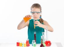 Girl in chemistry class, chemistry lesson Royalty Free Stock Photography