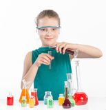 Girl in chemistry class, chemistry lesson Stock Photos