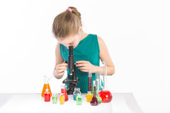 Girl in chemistry class, chemistry lesson Royalty Free Stock Images