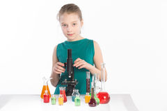Girl in chemistry class, chemistry lesson Stock Photo