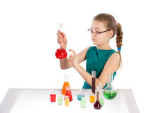 Girl in chemistry class, chemistry lesson Stock Image