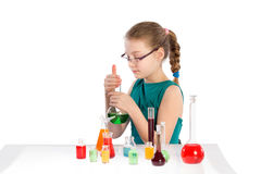 Girl in chemistry class, chemistry lesson Stock Photography