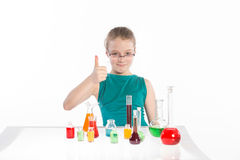 Girl in chemistry class, chemistry lesson Royalty Free Stock Image