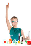 Girl in chemistry class, chemistry lesson Stock Images