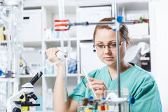 Girl in a chemistry lab Royalty Free Stock Image