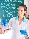 Girl chemistry student with flask. Royalty Free Stock Images