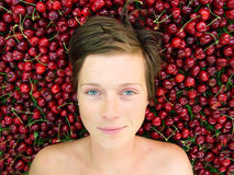 Girl with cherries Royalty Free Stock Photo