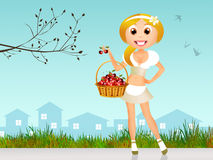 Girl with cherries Stock Photos