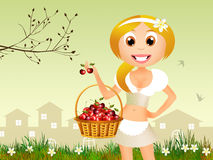 Girl with cherries Royalty Free Stock Images