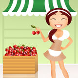Girl with cherries Royalty Free Stock Photography