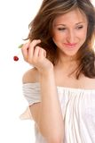 Girl with cherry Royalty Free Stock Images