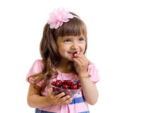 Girl with cherry berries bowl in studio isolated Stock Photo