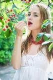 Girl in cherry garden Stock Photography