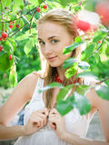 Girl in cherry garden Stock Photos
