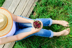 Girl and cherry Royalty Free Stock Image