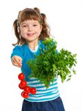 Girl with cherry tomatoes Royalty Free Stock Photos