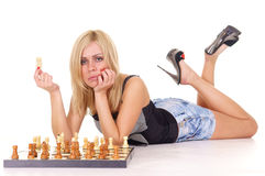 girl and chess Stock Photography