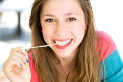 Girl with chewing gum Royalty Free Stock Photo
