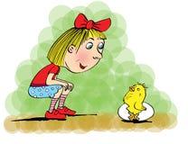 Girl and chicken, cartoon. Stock Photo