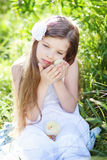 Girl with chicken Royalty Free Stock Photo