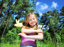 Beautiful girl with a chicken Royalty Free Stock Photography