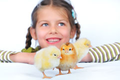 girl and chickens Royalty Free Stock Photos