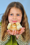 Girl and chickens Royalty Free Stock Photo