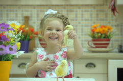 Girl with chickens Royalty Free Stock Images