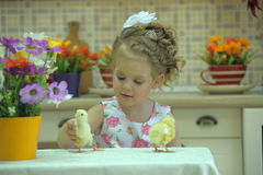Girl with chickens Stock Photo