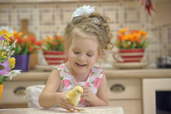 Girl with chickens Royalty Free Stock Photo