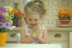 Girl with chickens Stock Photos