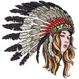 Girl with chief headdress vector illustration. royalty free illustration