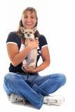 Girl and chihuahua Royalty Free Stock Image