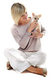 Girl and chihuahua Stock Photography