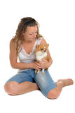 Girl and chihuahua Royalty Free Stock Photo