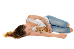 Girl and chihuahua Royalty Free Stock Photography