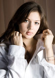 Girl child. Beautiful young woman with sensual lips Royalty Free Stock Photography